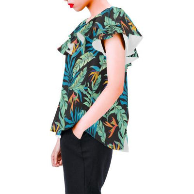 Tropical Palm Leaves Hawaiian Flower Off Shoulder Ruffle Blouse