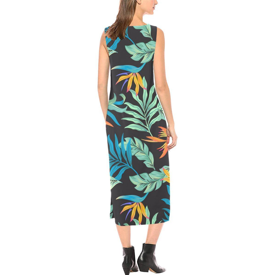 Tropical Palm Leaves Hawaiian Flower Sleeveless Open Fork Long Dress