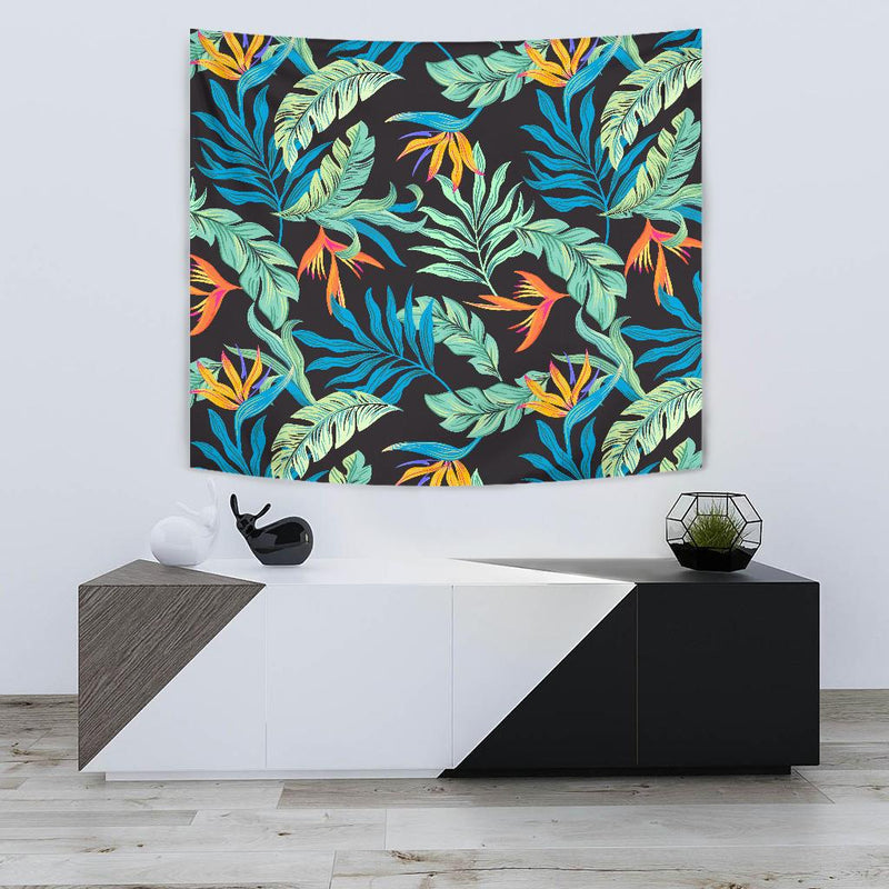 Tropical Palm Leaves Hawaiian Flower Tapestry