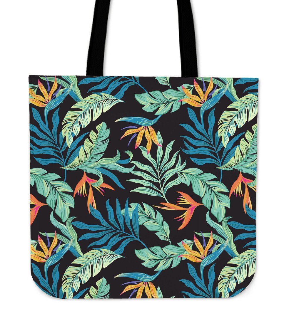 Tropical Palm Leaves Hawaiian Flower Tote Bags