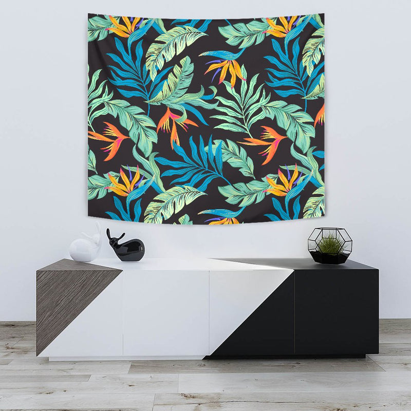 Tropical Palm Leaves Hawaiian Flower Wall Tapestry
