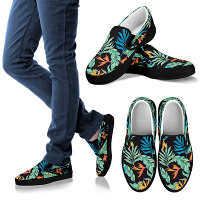 Tropical Palm Leaves Hawaiian Flower Women Canvas Slip On Shoes