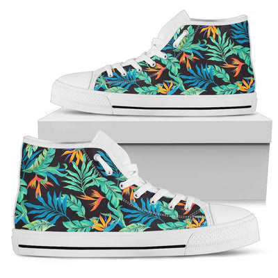 Tropical Palm Leaves Hawaiian Flower Women High Top Canvas Shoes