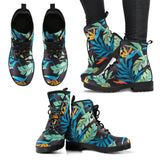 Tropical Palm Leaves Hawaiian Flower Women Leather Boots
