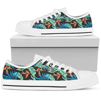 Tropical Palm Leaves Hawaiian Flower Women Low Top Canvas Shoes