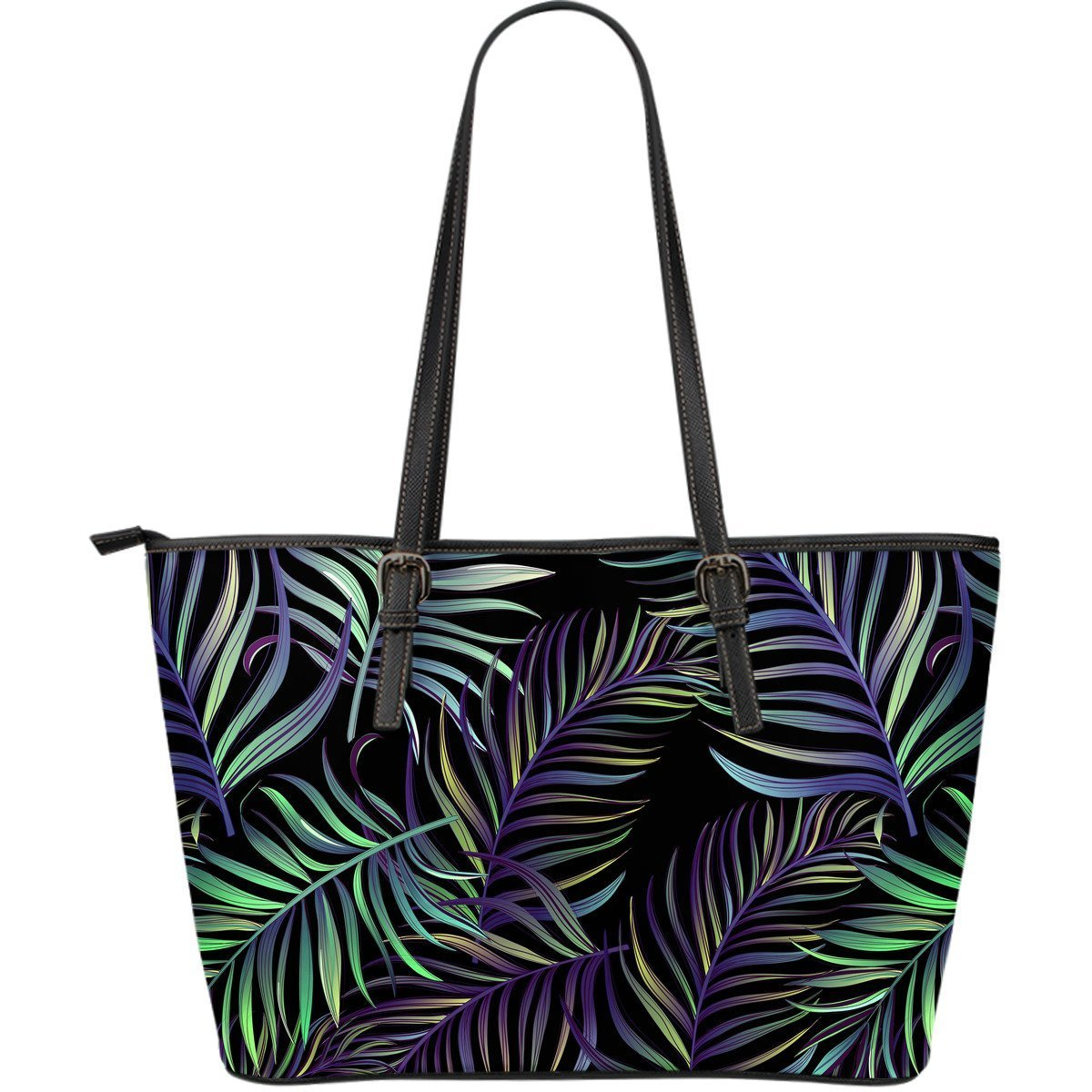 Tropical Palm Leaves Pattern Brightness Large Leather Tote Bag