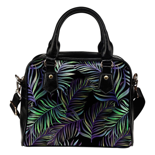 Tropical Palm Leaves Pattern Brightness Leather Shoulder Handbag