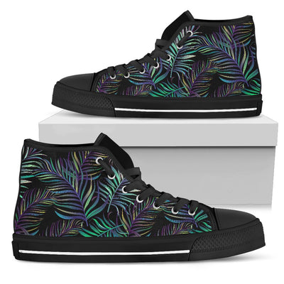 Tropical Palm Leaves Pattern Brightness Men High Top Canvas Shoes