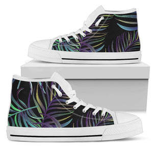 Tropical Palm Leaves Pattern Brightness Men High Top Shoes