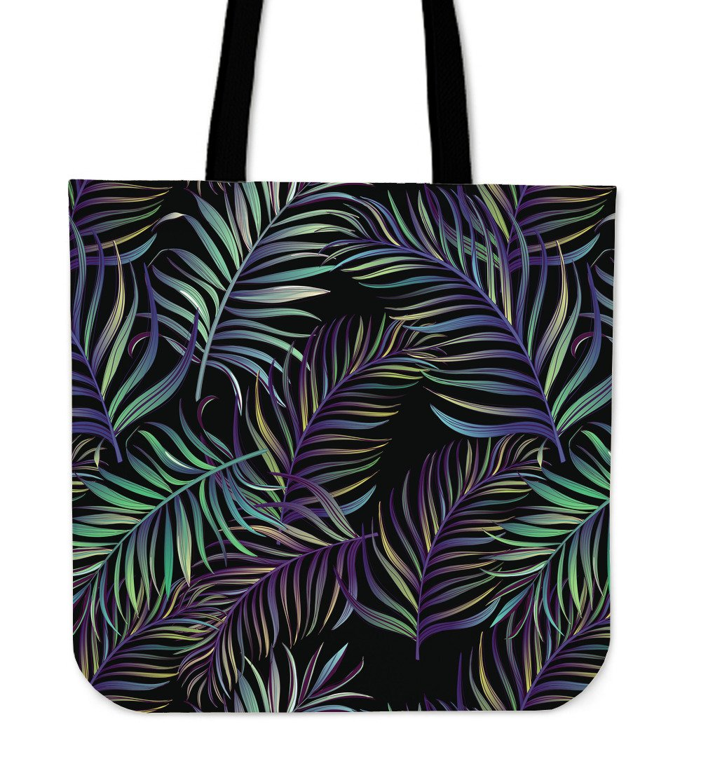 Tropical Palm Leaves Pattern Brightness Tote Bags