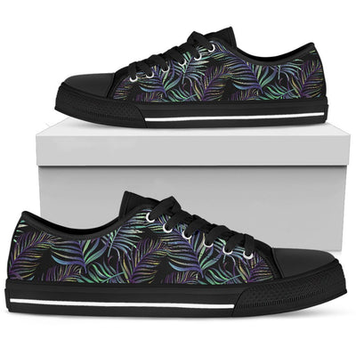 Tropical Palm Leaves Pattern Brightness Women Low Top Canvas Shoes