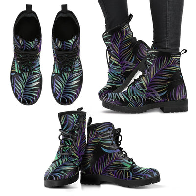Tropical Palm Leaves Pattern Brightness Women & Men Leather Boots