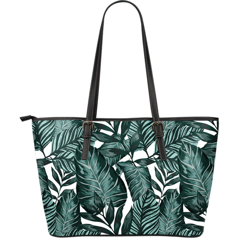 Tropical Palm Leaves Pattern Large Leather Tote Bag