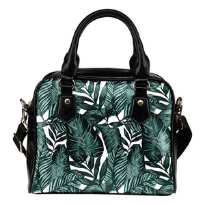 Tropical Palm Leaves Pattern Leather Shoulder Handbag