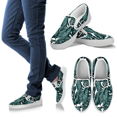 Tropical Palm Leaves Pattern Men Canvas Slip On Shoes