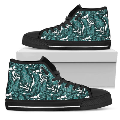 Tropical Palm Leaves Pattern Men High Top Canvas Shoes