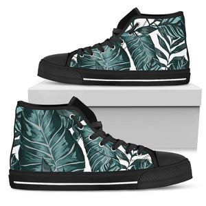 Tropical Palm Leaves Pattern Men High Top Shoes