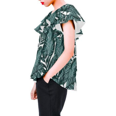 Tropical Palm Leaves Pattern Off Shoulder Ruffle Blouse