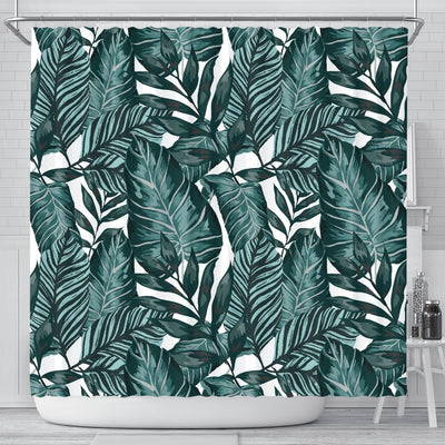 Tropical Palm Leaves Pattern Shower Curtain