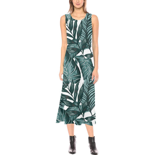 Tropical Palm Leaves Pattern Sleeveless Open Fork Long Dress