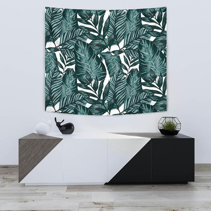 Tropical Palm Leaves Pattern Tapestry