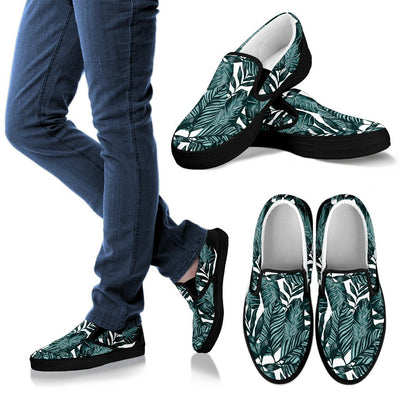 Tropical Palm Leaves Pattern Women Canvas Slip On Shoes