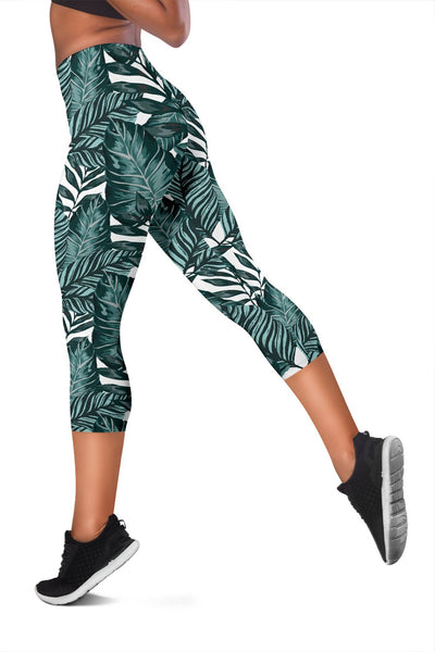 Tropical Palm Leaves Pattern Women Capris