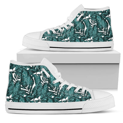 Tropical Palm Leaves Pattern Women High Top Canvas Shoes