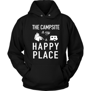 Tshirt campsite my happy place camping hoodies sweatshirts Vnecks long sleeves CAMP1024