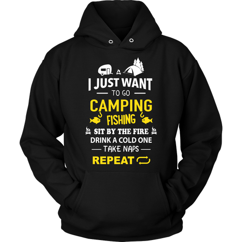 Tshirts Camping fishing drink repeat hoodies sweatshirts Vnecks long sleeves CAMP1017