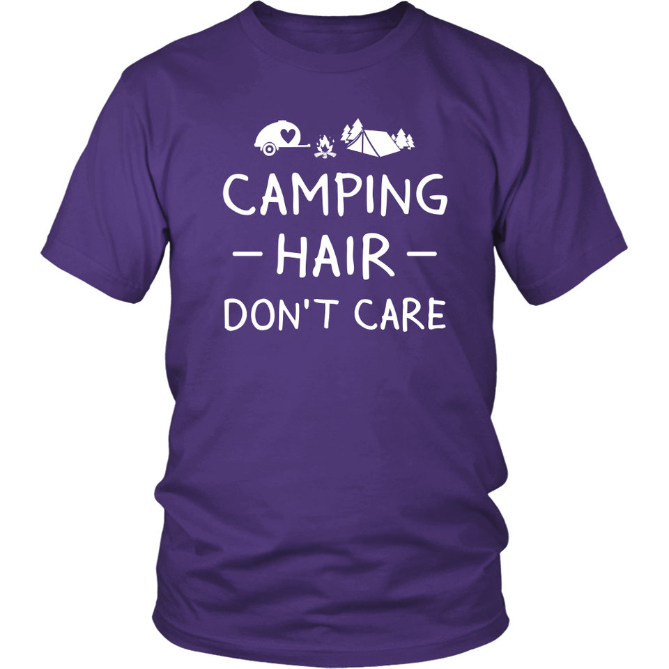 Tshirts camping hair don't care hoodies love sweatshirts Vnecks long sleeves camp1070