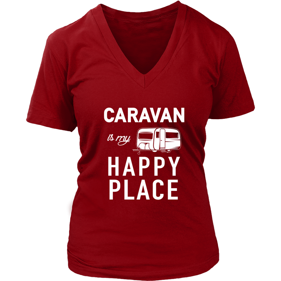 tShirts Caravan is my happy place camping hoodies sweatshirts Vnecks long sleeves CAMP1060