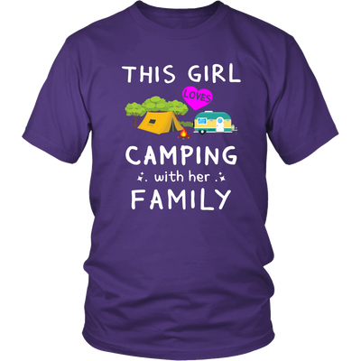 Tshirts girl love camping with her family hoodies love sweatshirts Vnecks long sleeves camp1078