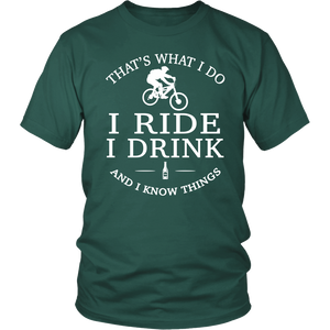 tShirts i ride i drink i know things mountain bike biking hoodies sweatshirts Vnecks long sleeves tank top mtb1002