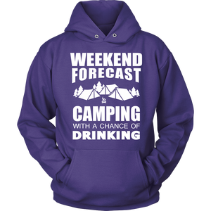 Tshirts weedkend forecast camping drinking hoodies sweatshirts Vnecks long sleeves CAMP1005
