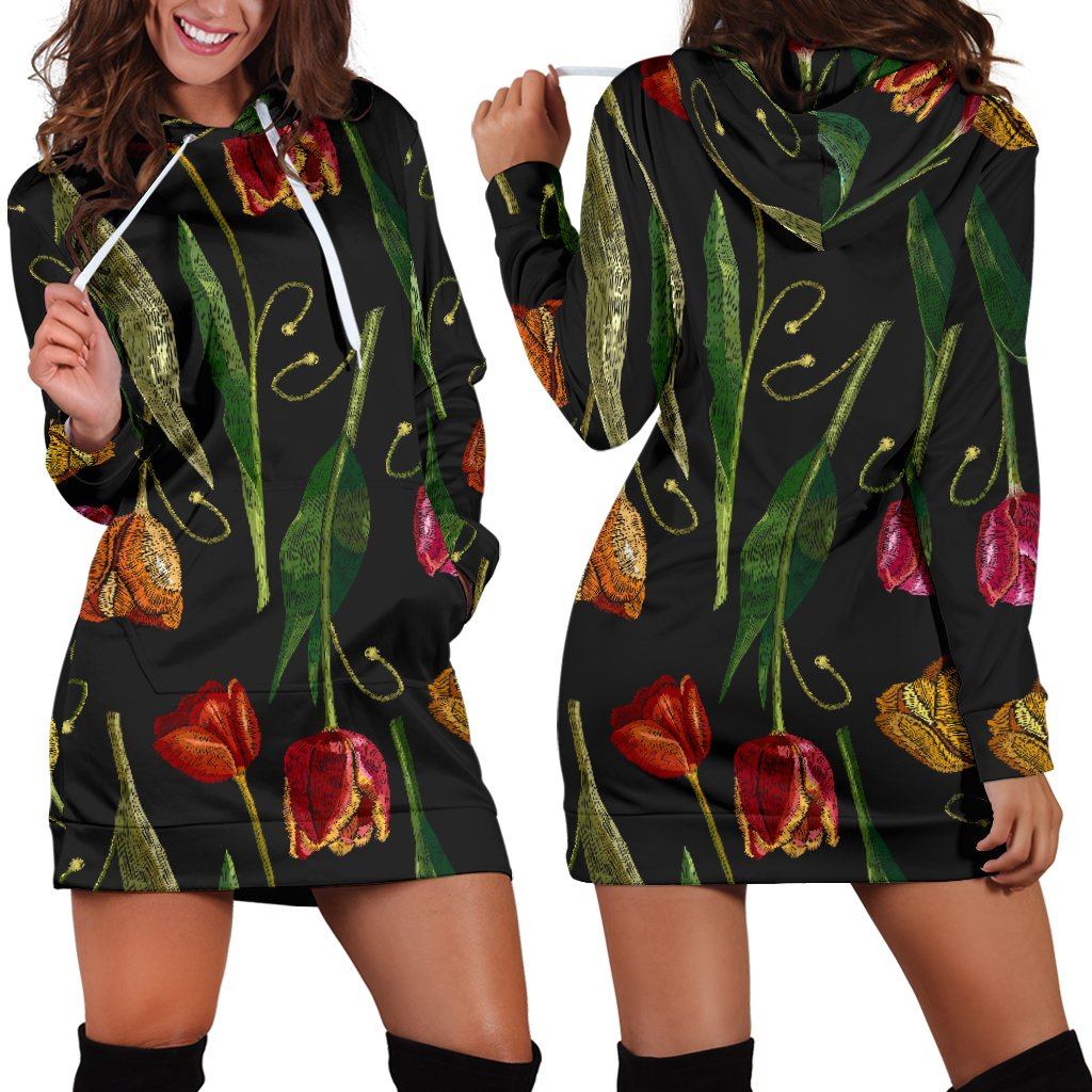 Tulip Embroidered Pattern Print Design TP01 Women Hoodie Dress