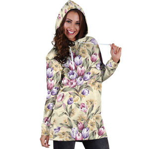 Tulip Pattern Print Design TP04 Women Hoodie Dress