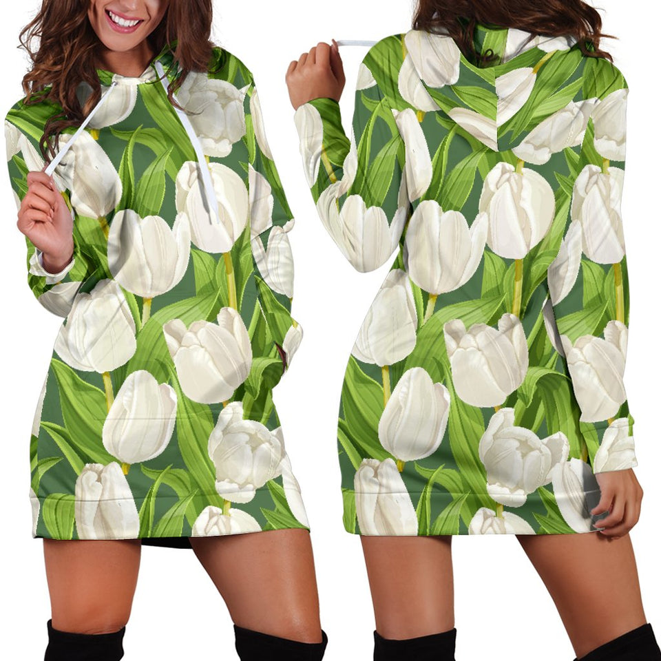 Tulip White Pattern Print Design TP05 Women Hoodie Dress
