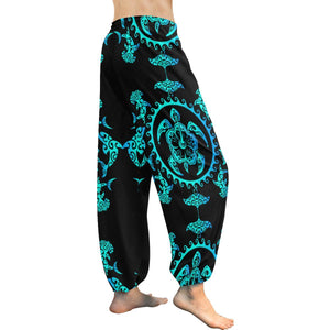 turquoise Tribal Sea Turtle Hawaiian Harem Pants