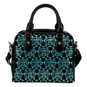 turquoise Tribal Sea Turtle Hawaiian Leather Shoulder Handbag