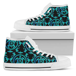 turquoise Tribal Sea Turtle Hawaiian Men High Top Shoes