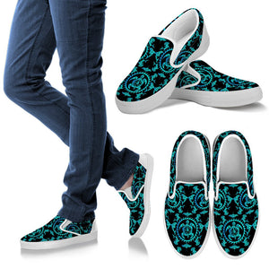 Turquoise Tribal Sea Turtle Hawaiian Men Slip On Shoes