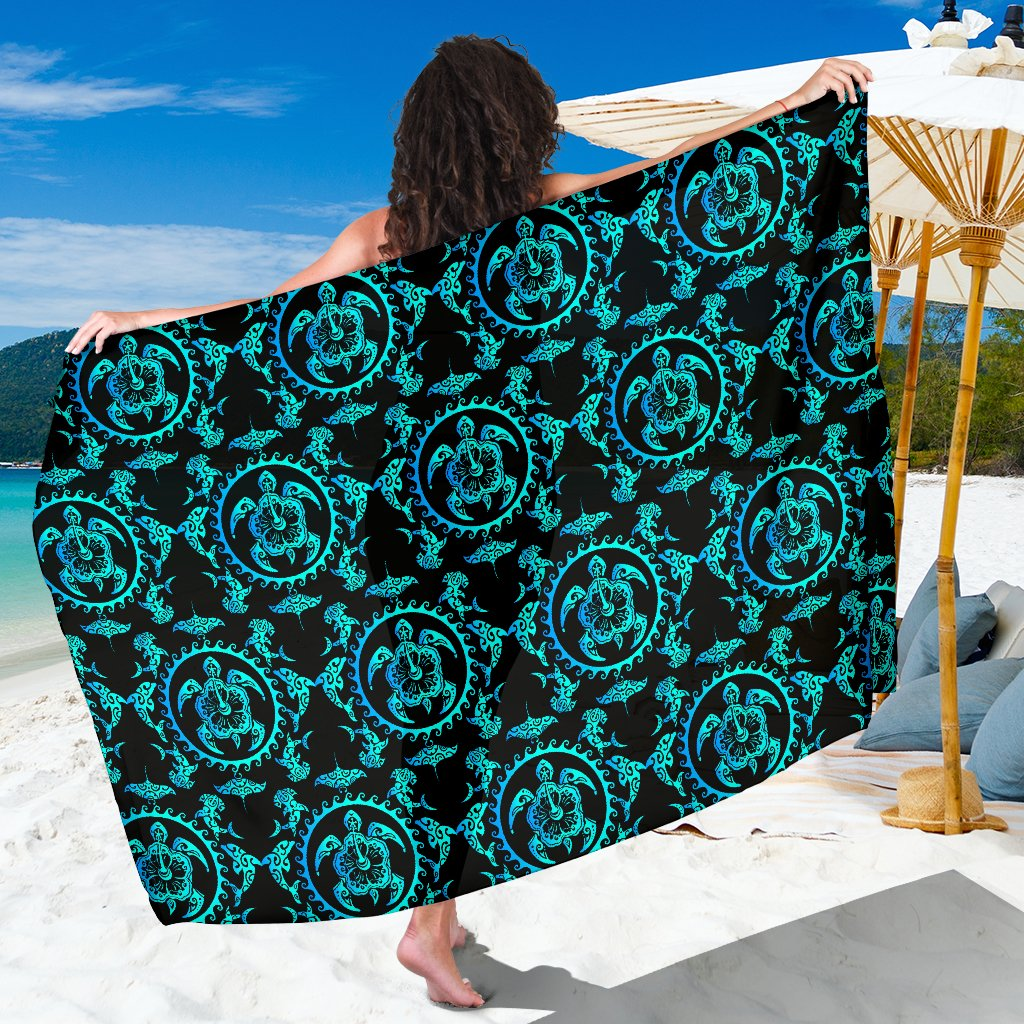 Turquoise Tribal Sea Turtle Hawaiian Sarong Pareo Wrap