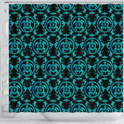 Turquoise Tribal Sea Turtle Hawaiian Shower Curtain
