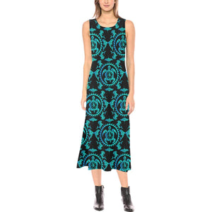 turquoise Tribal Sea Turtle Hawaiian Sleeveless Open Fork Long Dress