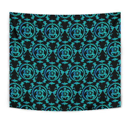 turquoise Tribal Sea Turtle Hawaiian Tapestry
