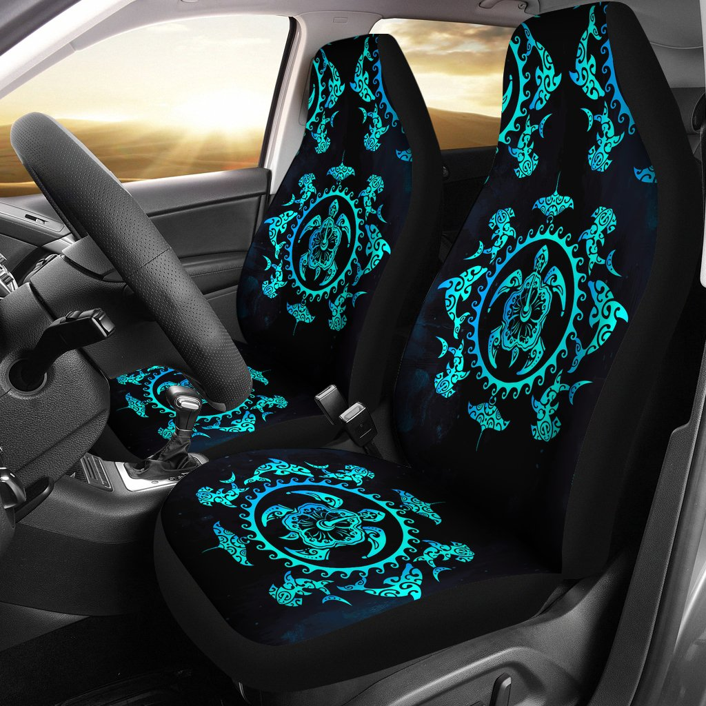 Turquoise Tribal Sea Turtle Hawaiian Universal Fit Car Seat Covers