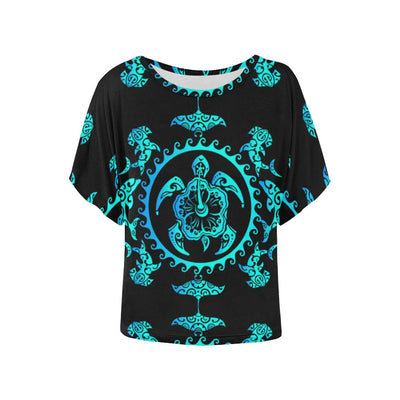 turquoise Tribal Sea Turtle Hawaiian Women Batwing Tops Shirt