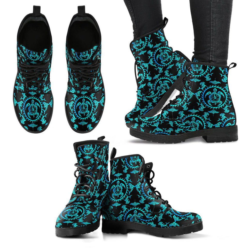 Turquoise Tribal Sea Turtle Hawaiian Women Leather Boots