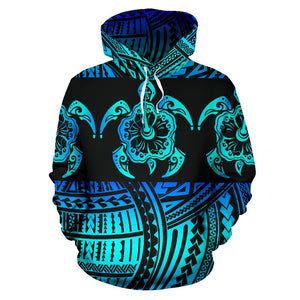 Turtle Hibiscus Hawaiian Polynesian Style All Over Print Hoodie